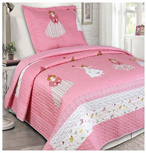 Elegant Home Cute Girls Pink White Princess and Butterflies 2 Piece Coverlet Bedspread Quilt for Kids  Girls Twin Size  13022
