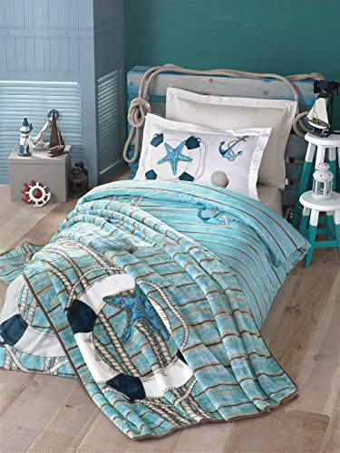Bekata Sea Nautical Bedding Set 100 Cotton SingleTwin Size DuvetQuilt Cover Set and Blanket Lifebuoy Anchors Shell Starfish Themed 4 PCS Sea