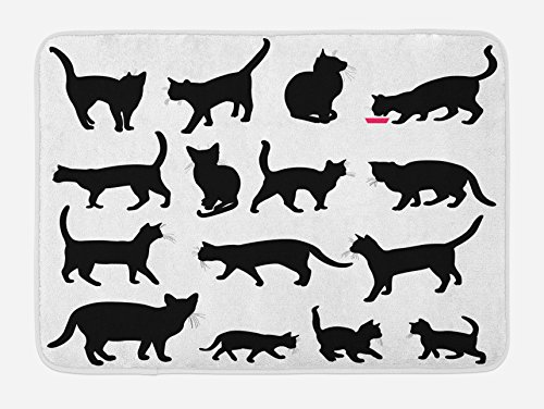 Ambesonne Cat Bath Mat Black Cat Silhouettes in Different Poses Domestic Pets Kitty Paws Tail and Whiskers Plush Bathroom Decor Mat with Non Slip Backing 295 X 175 Black and White