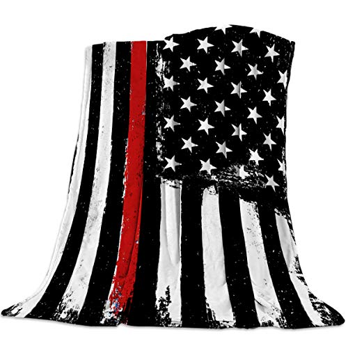 Homey Room Cozy Flannel Blanket for CouchBedTravel 60 x 80 Inches Thin Red Line USA Flag Art Print - Luxury Soft Warm Plush Microfiber Throw Blanket for ChildrenParents Decor&Gift
