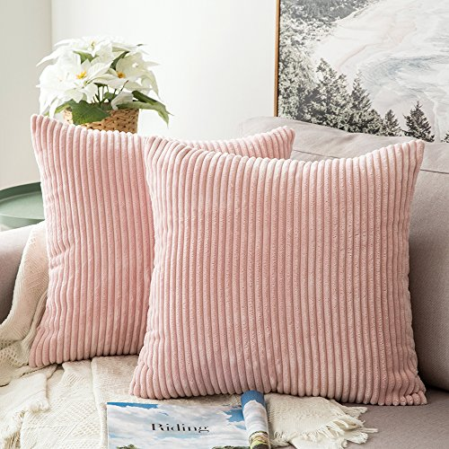 MIULEE Pack of 2 Corduroy Soft Soild Decorative Square Throw Pillow Covers Set Cushion Cases Pillowcases for Sofa Bedroom Car 18 x 18 Inch 45 x 45 cm