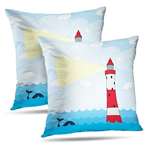 Kutita Red White Lighthouse Set of 2 Pillow Cover Decorative Pillow Covers Sea and Whale Architecture Blue Bright Throw Pillow Case Cushion for Sofa Living Room 18X18 Inch
