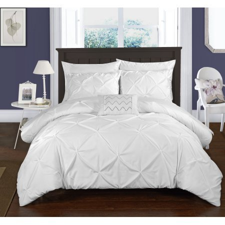 4-Piece Whitley Pinch Pleated ruffled and pleated complete Queen Duvet Cover Set White Shams and Decorative Pillows included