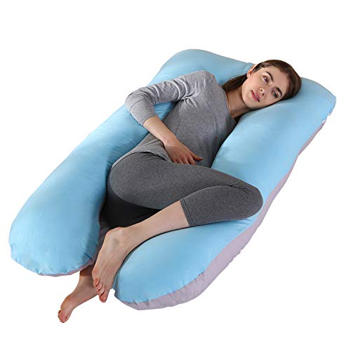Display4top Full Body Pregnancy PillowComfort U-Shaped Maternity Pillow for Pregnant Women with Zipper Removable Full Sufficient Cotton Cover Grey&Blue