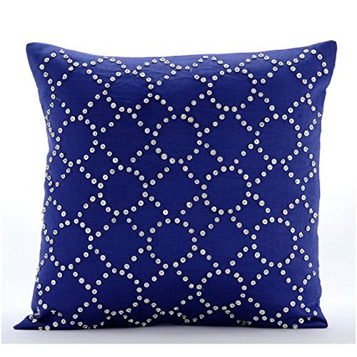 Designer Blue Euro Sham 26x26 Euro Pillow Covers Lattice Trellis Euro Pillow Shams Cotton Linen Euro Sham Covers Geometric Contemporary Euro Shams - Royal Blue Illumination