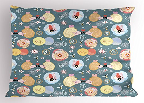 Kids Pillow Sham by Ambesonne Cute Hedgehogs Kissing Hearts Love Bees Flowers Cheerful Happy Baby Artwork Image Decorative Standard Queen Size Printed Pillowcase 30 X 20 Inches Multicolor