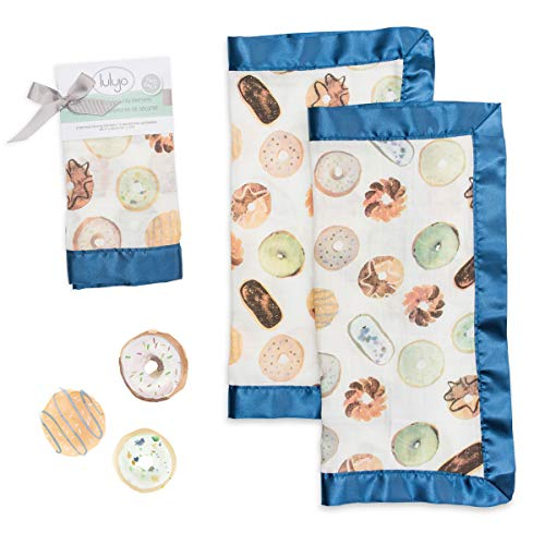 lulujo Baby Security Lovie Blankets Unisex Softest Breathable Bamboo Viscose Muslin Security Blanket with Silky Satin Trim Neutral Comforting Blanket for Girls Boys  16in by 16 in Donuts