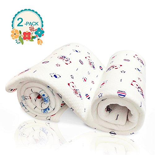 AIDOUT Baby Swaddle Blanket Adjustable Infant Wrap Set  - 2 Pack Soft Cotton in White Little Bear