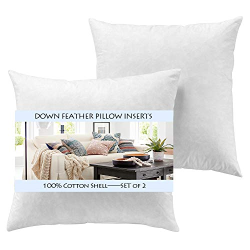Yesterdayhome Set of 2-24x24 Decorative Throw Pillow Inserts-Down Feather Pillow Inserts-White