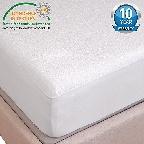 HYSENM 100 Waterproof Healthy Anti-bacteria Anti-mite Breathable Noiseless Cotton Mattress Protector white 71X7579