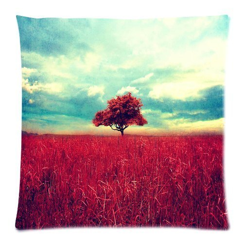 Custom Queen Size Bed Pillowcase DIY Fashion classic POP Beautiful red tree scene wide Pillowcases Pillowslips Roomy in Size 18 x 18 Inch Pillow slip Bed Pillowcases Pillow cases
