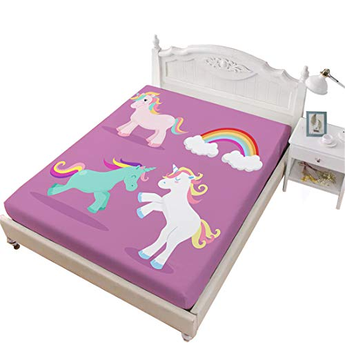 Oliven Queen Single Fitted SheetCartoon Unicorn Printed Fitted Sheet Queen Size1 Piece Purple Deep Pocket Queen Size Fitted Sheet for Drom Decor