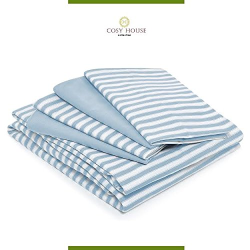 Cosy House Bed Sheets Set of 6 - Stain Fade Lint Free - Soft Breathable Bamboo and Microfiber Blend Striped Bedding with Deep Pocket Fitted Sheet Flat Sheet and 4 Pillowcases - King Baby Blue