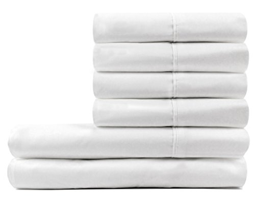 D Charles 300 Thread Count Percale Combed Cotton Sheet Set with Extra Bonus pillowcases Queen White