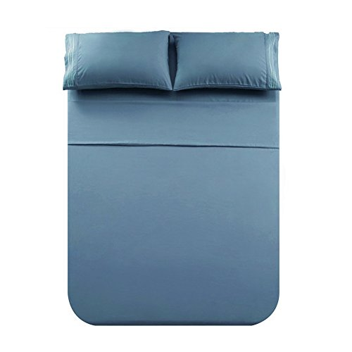 Honeymoon 1800 Brushed Microfiber Embroidered Bed Sheet Set Ultra Soft Queen - Blue