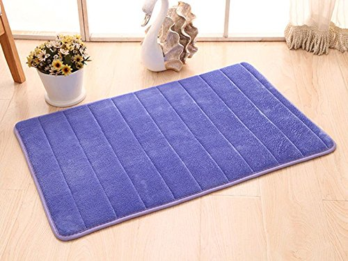 Bath Rugs Absorbent Memory Foam Non-slip Rug Mats for Bathroom Kitchen Size17x24 Blue