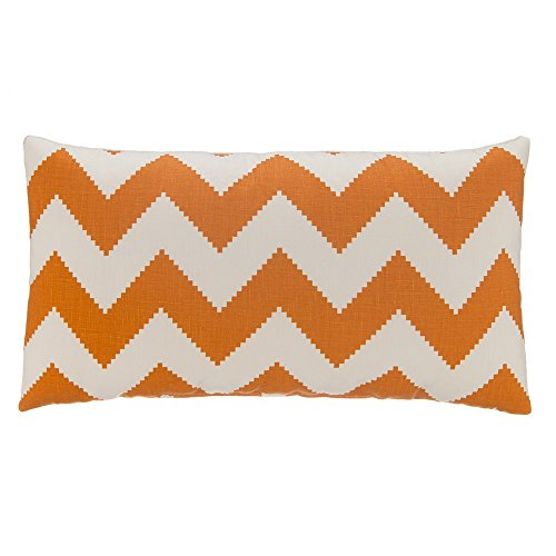 Grouchy Goose Chevron Linen Lumbar Pillow Cover Tangerine Orange