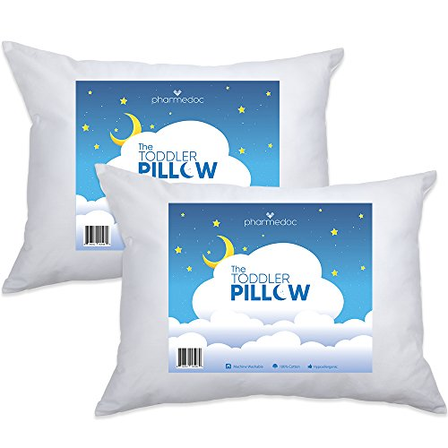 PharMeDoc Toddler Pillow for Children 14x19 - 2pk - Hypoallergenic Kids Pillow Provides Back Neck Support - Soft Delicate Cotton - First Baby Pillow - Perfect As An Adult Small Pillow for Travel