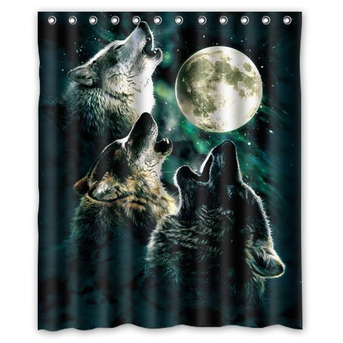 Fashionable Bathroom Collection-Custom Waterproof Wolf Shower Curtain 36 x 72 With 12 holes-1241