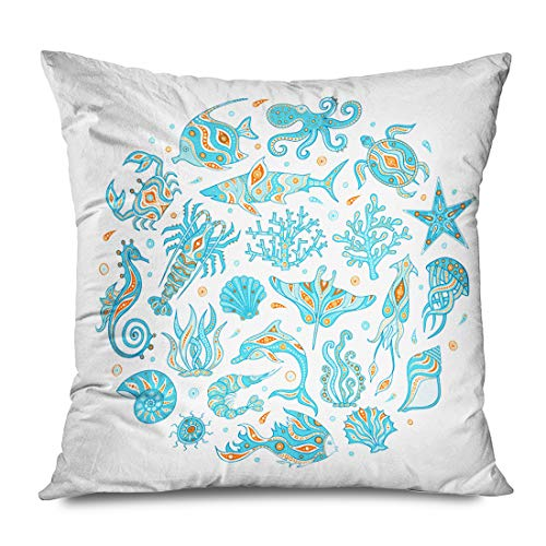 Ahawoso Throw Pillow Cover Square 20x20 Inches Colorful Life Animals Depths Handdrawn Wildlife Abstract Collection Doodle Stingray Colored Coral Decorative Pillowcase Home Decor Zipper Cushion Case