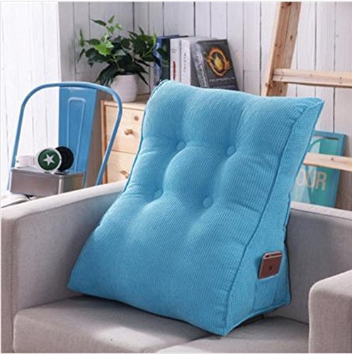 Vercart Sofa Bed Large Filled Triangular Wedge Cushion Bed Backrest Positioning Support Pillow Reading Pillow Office Lumbar Pad with Removable Cover Sky Blue 18x22 Inches