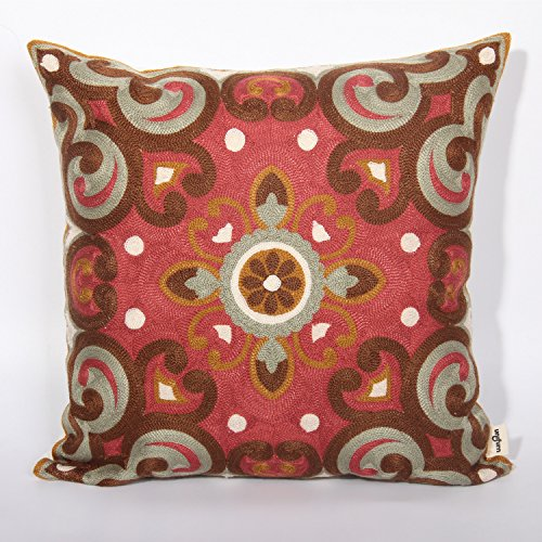 Vintage Brick Red Full Embroidered Throw Pillow Cover Accent Pillowcase 18x18inches By Uniifurn
