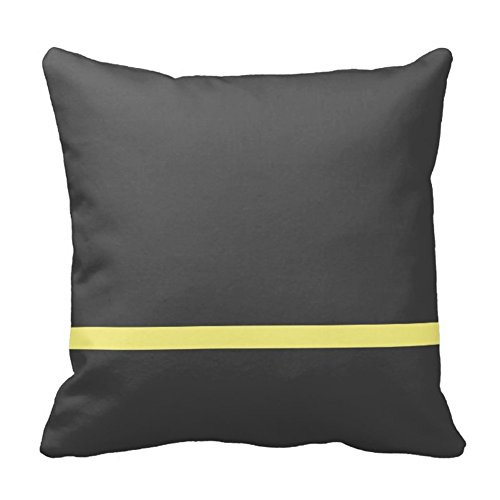 Custom Home Design One Yellow Thin Stripe in Gray Fashion Pillow Decorative Bed Cushion Case Cover Zippered 18X18 Inch