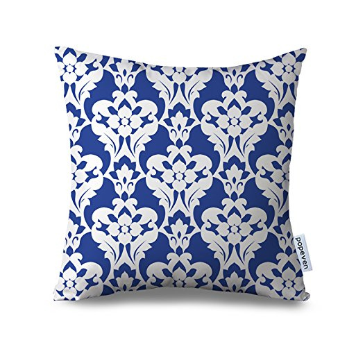 Popeven Royal Blue Pillow Case Decorative Geometric Floral Pillow Cover Square Canvas Accent Throw Pillow Case for Sofa and Couch Decor Standard Size Pillowcase with Zipper 18x18