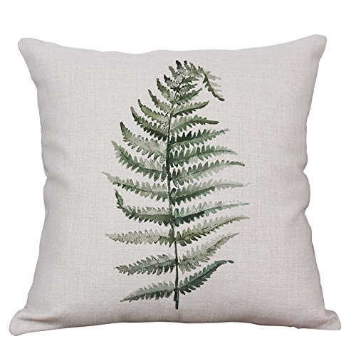 Green Plant Throw Pillow Covers Decorative Cushion Covers Square Cotton Linen Outdoor Couch Sofa Home Pillow Covers 20x20 Inch