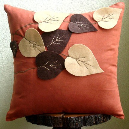 Handmade Rust Decorative Pillows Cover Leaf Felt Applique Tropical Theme Pillows Cover 20x20 Pillows Cover Floral  Square Faux Suede Pillows Covers for Couch - Spring Leaves