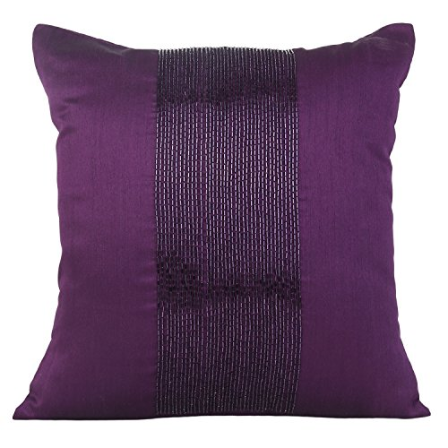 Purple Decorative Pillow Cover - Beaded Purple Throw Pillow Cover In Panel Embroidery - Accent Pillows For Couch Bed Purple 18X18 inches By The White Petals