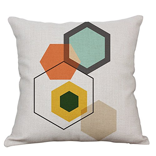 YeeJu Geometric Decorative Throw Pillow Covers Cotton Linen Square Cushion Cover Outdoor Couch Sofa Home Pillow Covers 18 x 18 Inches