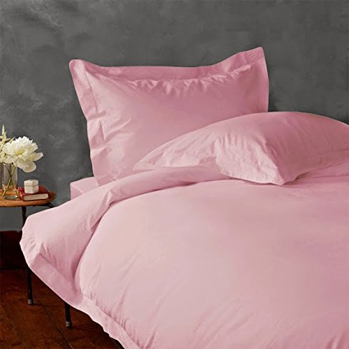 Egyptian Park Real 400-Thread-Count Super Soft Button Closure Designer 1-Piece Luxury Duvet Cover Twin Extra Long Solid Baby PinkSoft Pink
