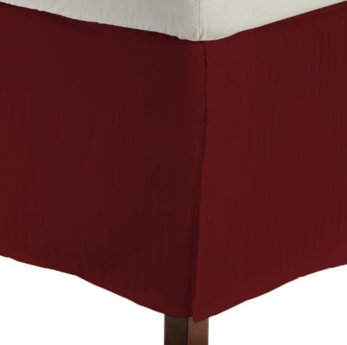 lavish and Stylish Bed Skirt by Comfy-lecho with 15 inches drop down 500TC Tailored fit Ultrasoft 100 Egyptian cotton Superfine Italian finish Durable Attractive look EasyfitTwin-BurgundyStripe