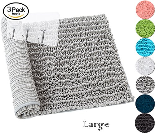 Yimobra Non-slip Bath Mat Luxurious Microfiber Absorbent Soft for Bathroom 315 X 198 Inch Gray with Wall Hooks 3 Pack