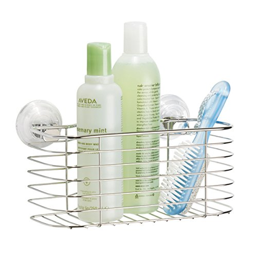 mDesign Bathroom Power Lock Shower Caddy Organizer Basket for Shampoo Conditioner Soap - Stainless Steel
