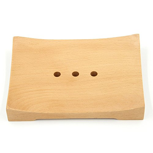 Bamber Wood Soap Dishes for Bathroom Soap Holder Saver With Draining Holes Rectangular - Beechwood
