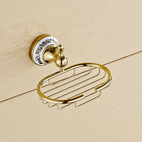 Beelee Gold Polished Soap Dish Holder Wall Mounted