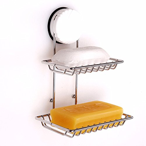 ASIBG Home Sucker Soap Dish Stainless Steel Double Strength Double Soap Dish