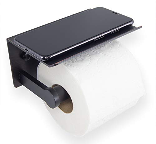 Neater Nest Reversible Toilet Paper Holder with Phone Shelf Modern Style Oil Rubbed Bronze Single