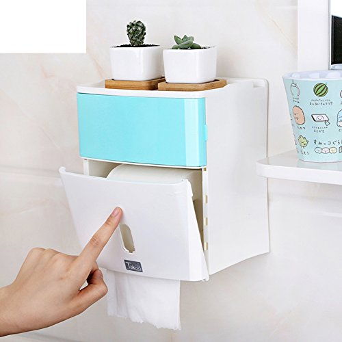 Toilet Roll BoxToilet Paper Towel BoxWaterproof Hygienic TrayPunch-free Book BoxRoll Paper TubeTissues Holder-A