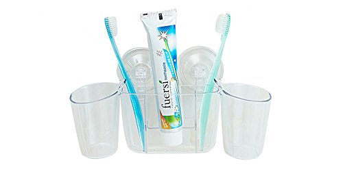 Comfspo Plastic Toothbrush Holder With Sucker Bathroom Storage Organizer for Dental Supplies Toothpaste and Toothbrushes