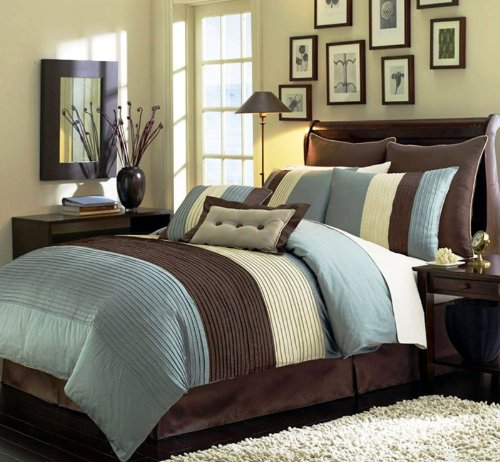Legacy Decor 8 Pieces Blue Beige Brown Luxury Stripe Comforter 90x92 Bed-in-a-bag Set Queen Size Bedding