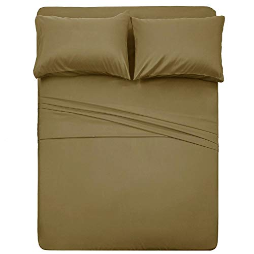 Luxus Linen Store Microfiber Sheet Set - Twin Size Bed Sheet Set with 15 Inch Extra Deep Pocket Solid Taupe - Premium Soft Easy-Wash - Breathable and Wrinkle Resistant