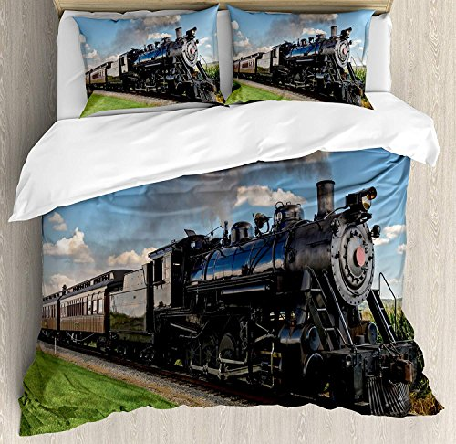 Steam Engine Full Size Duvet Cover Set - Vintage Locomotive in Countryside Scenery Green Grass Puff Train Picture Bedding Sets Decorative Pillowcases for ChildrensKidsTeensAdults 3 Piece