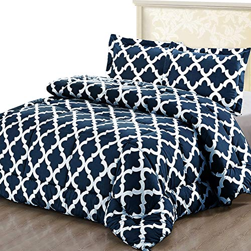 Utopia Bedding Printed Comforter Set KingCal King Navy with 2 Pillow Shams - Luxurious Brushed Microfiber - Down Alternative Comforter - Soft and Comfortable - Machine Washable