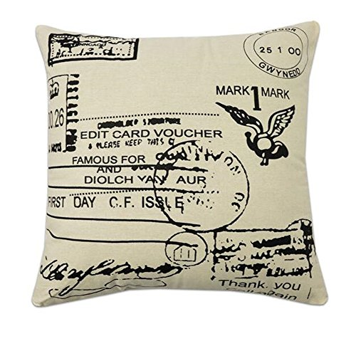GD-D Home Cotton Linen Square Print Black and Natural Throw Pillow Case Decorative Pillow Cushion Cover PillowCase 18inch