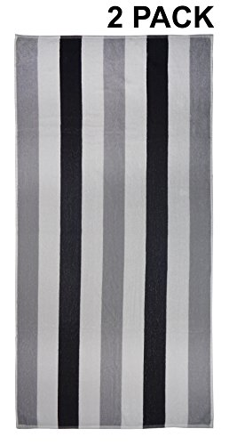 Cotton Craft - Terry Beach Towel 30x60 - 2 Pack - Cabana Stripe Grey Black - 400 GSM - 100 Pure Ringspun Cotton - Highly absorbent easy care machine wash - Use for picnic poolside colorful bath towel