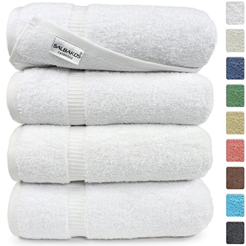 Turkish Luxury Hotel Spa Collection 27x54 Bath Towels 100 Combed Cotton Eco-Friendly Set of 4 White