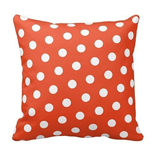 Personalized 18X18 Inch Square Cotton Pillowcases Red Orange Polka Dot Throw Pillow Covers